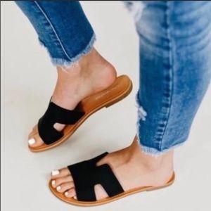 SALVIA Black Vegan Leather Slides
